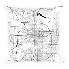 Bloomington black and white throw pillow with city map print 18x18