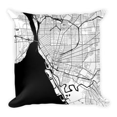 Buffalo black and white throw pillow with city map print 18x18