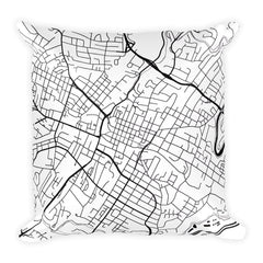 Charlottesville black and white throw pillow with city map print 18x18