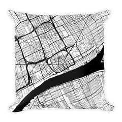 Detroit black and white throw pillow with city map print 18x18