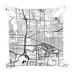 East Lansing black and white throw pillow with city map print 18x18