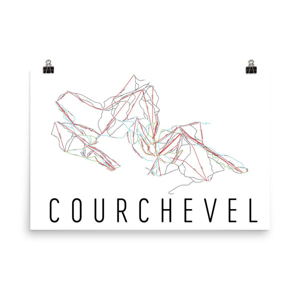 Courchevel Ski Trail Map Poster 12x18