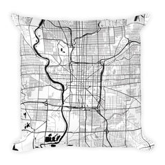 Indianapolis black and white throw pillow with city map print 18x18
