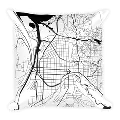 Ithaca black and white throw pillow with city map print 18x18
