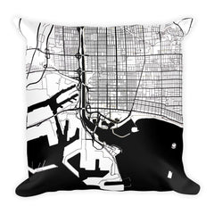 Long Beach black and white throw pillow with city map print 18x18