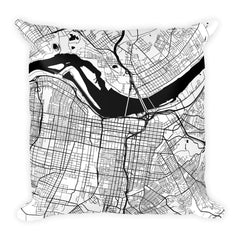 Louisville black and white throw pillow with city map print 18x18