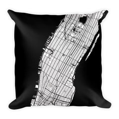 Manhattan black and white throw pillow with city map print 18x18