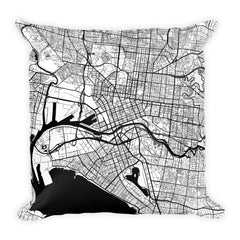 Melbourne black and white throw pillow with city map print 18x18