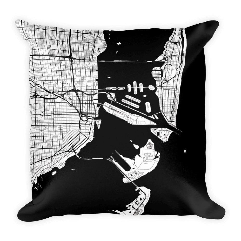 Miami black and white throw pillow with city map print 12x20