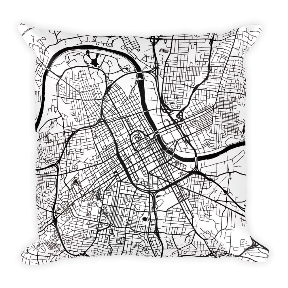 Nashville black and white throw pillow with city map print 12x20