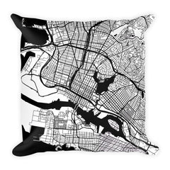Oakland black and white throw pillow with city map print 18x18
