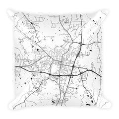 Oxford MS black and white throw pillow with city map print 18x18