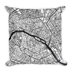 Paris France black and white throw pillow with city map print 18x18
