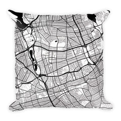 Queens black and white throw pillow with city map print 18x18