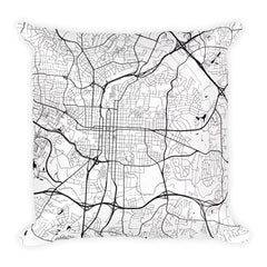 Raleigh black and white throw pillow with city map print 18x18