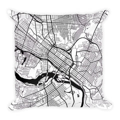 Richmond black and white throw pillow with city map print 18x18