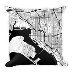 San Diego black and white throw pillow with city map print 18x18