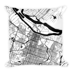 Savannah black and white throw pillow with city map print 18x18