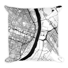 St. Louis black and white throw pillow with city map print 18x18