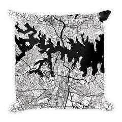 Sydney black and white throw pillow with city map print 18x18