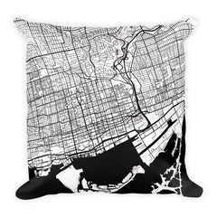 Toronto black and white throw pillow with city map print 18x18