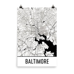 Baltimore MD Street Map Poster White