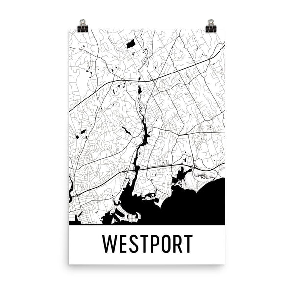 Westport CT Street Map Poster White