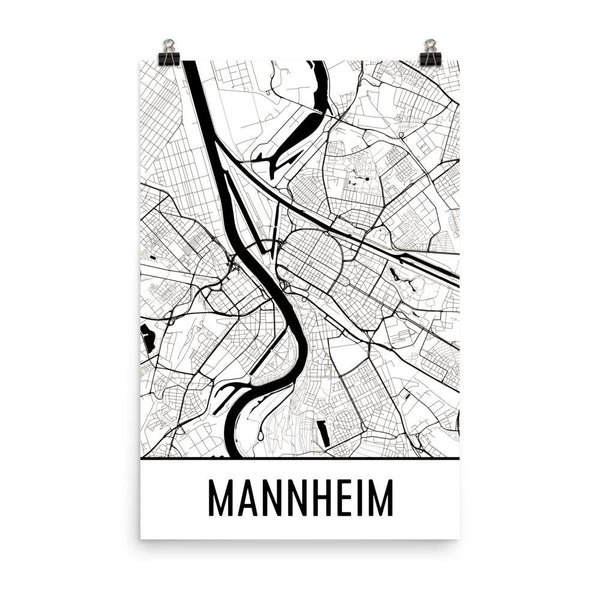 Mannheim Street Map Poster White