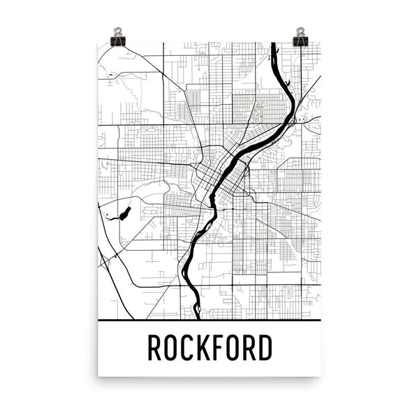 Rockford IL Street Map Poster White