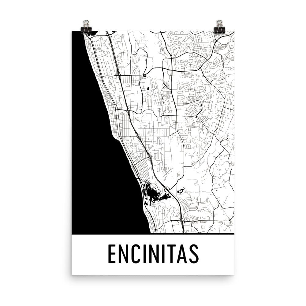 Encinitas CA Street Map Poster White