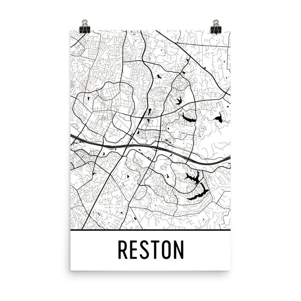Reston VA Street Map Poster White