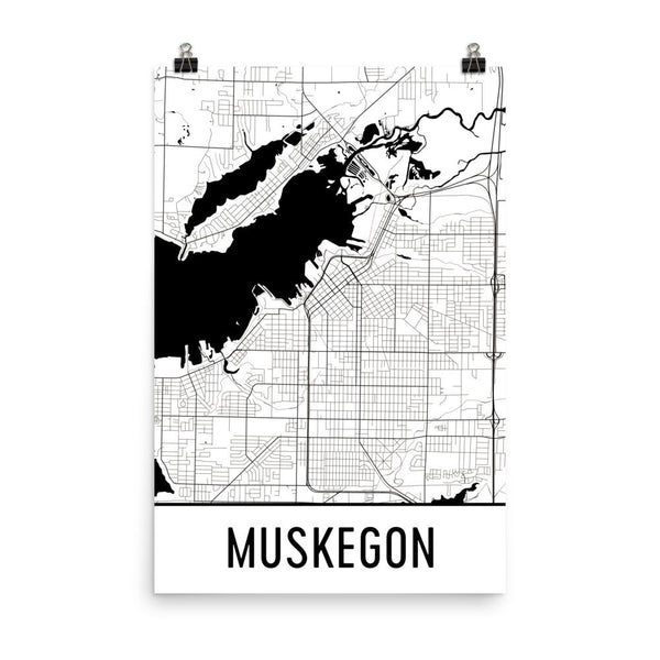 Muskegon MI Street Map Poster White