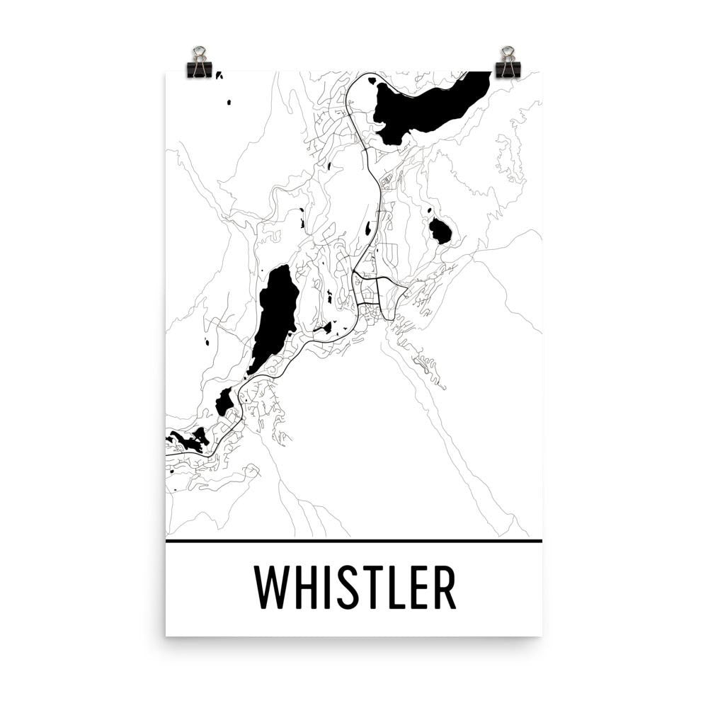 Whistler BC Street Map Poster White