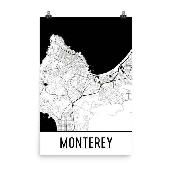 Monterey CA Street Map Poster White