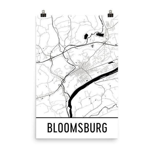 Bloomsburg Street Map Poster White