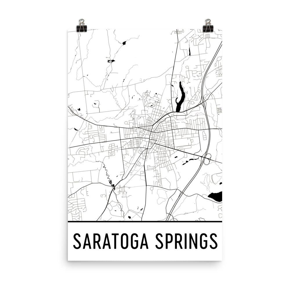 Saratoga Springs NY Street Map Poster White