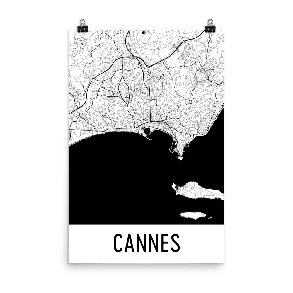 Cannes France Street Map Poster White