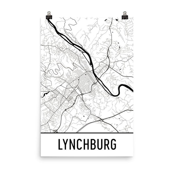 Lynchburg Virginia Street Map Poster White
