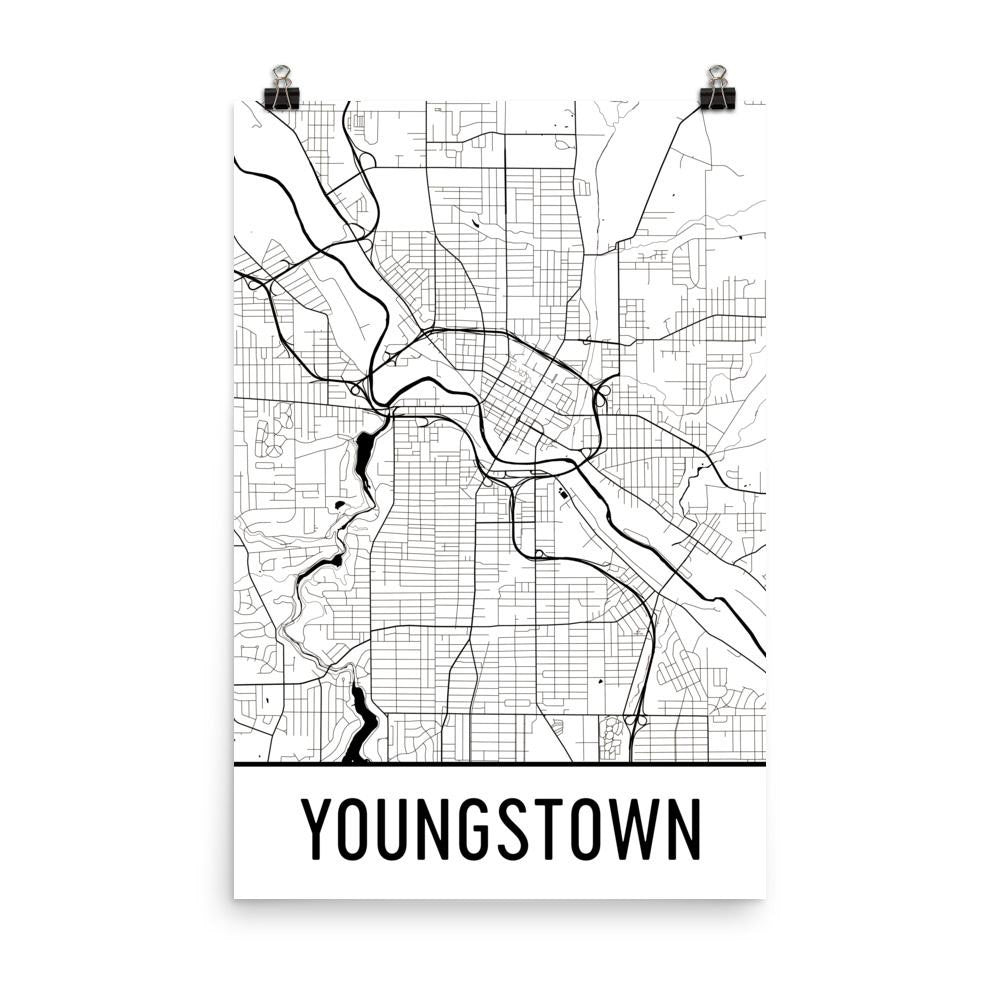 Youngstown OH Street Map Poster White