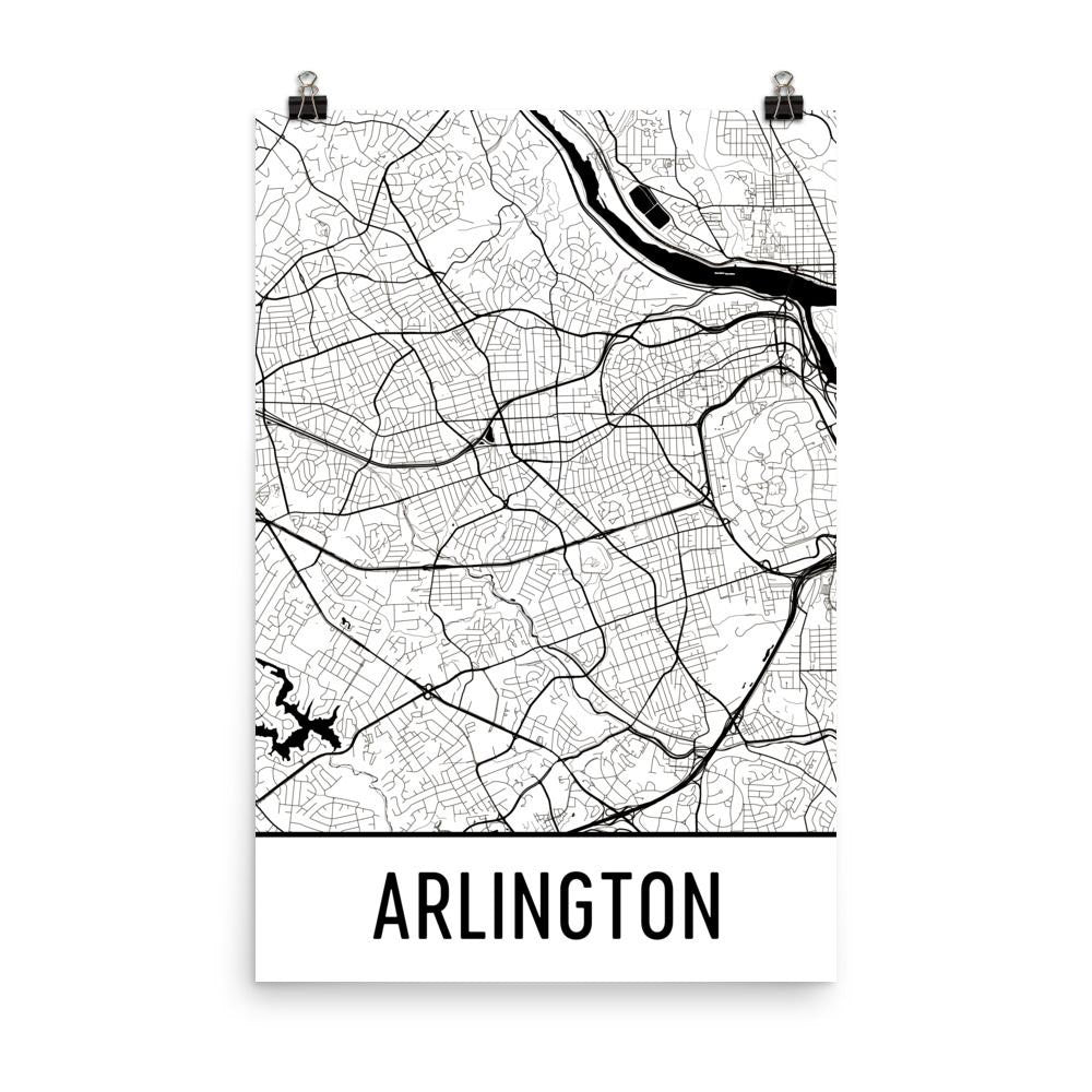 Arlington VA Street Map Poster White