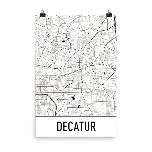 Decatur GA Street Map Poster White