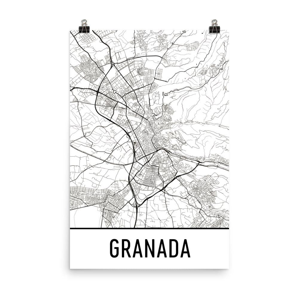 Granada Spain Street Map Poster - Wall Print by Modern Map Art on
