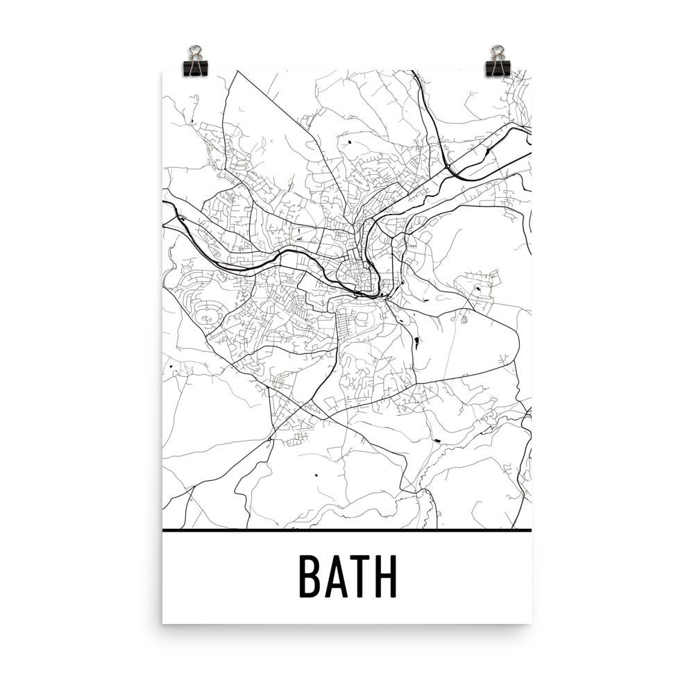 Bath England Street Map Poster White