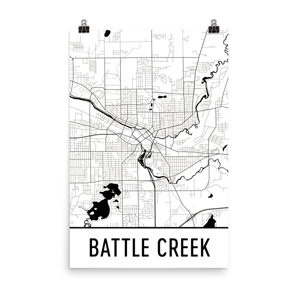 Battle Creek Street Map Poster White