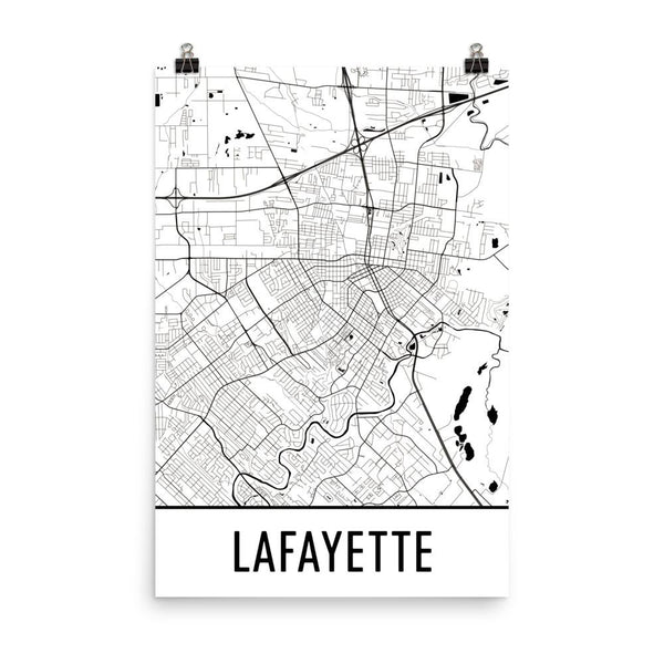 Lafayette Louisiana Street Map Poster White