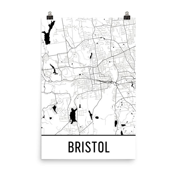 Bristol Connecticut Street Map Poster White