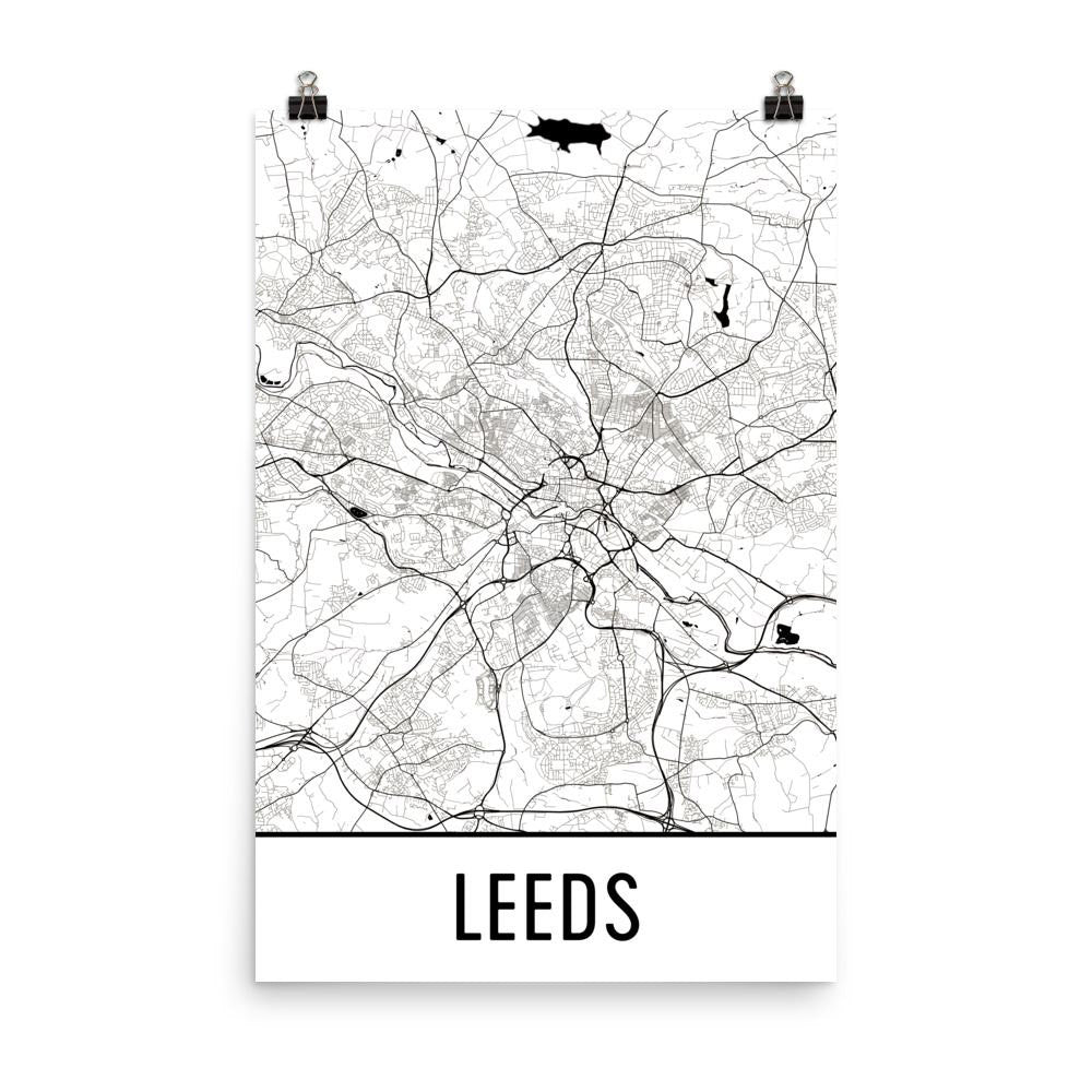 Leeds England Street Map Poster White