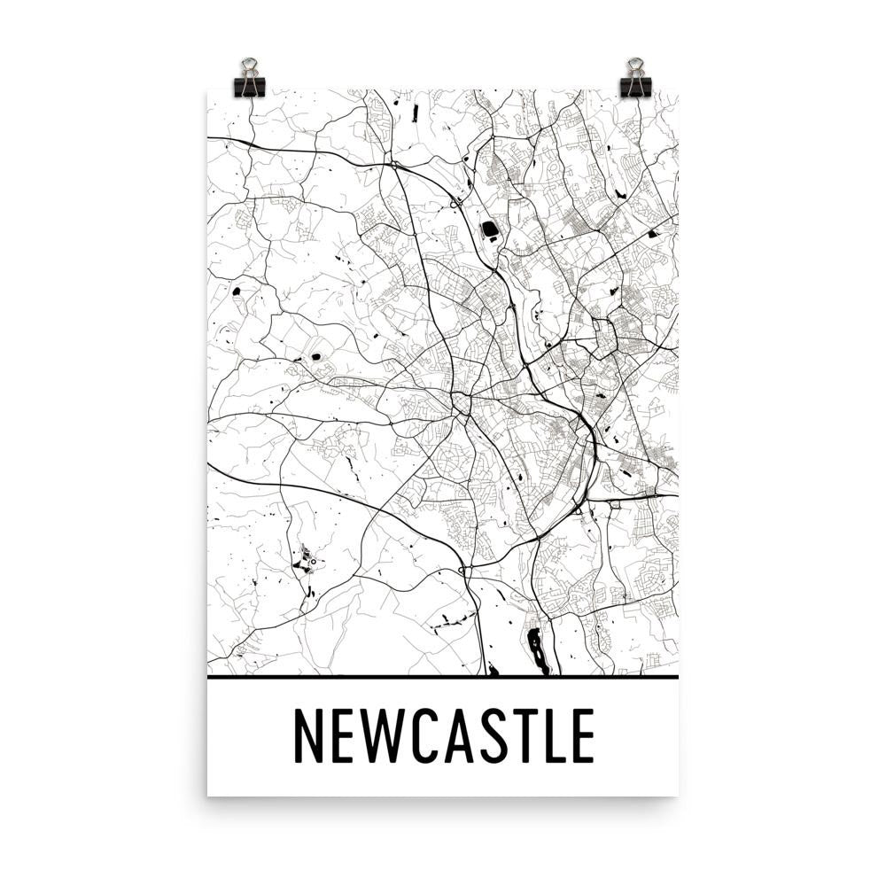 Newcastle England Street Map Poster White