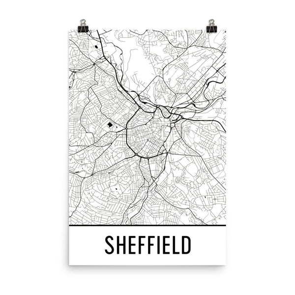 Sheffield England Street Map Poster White