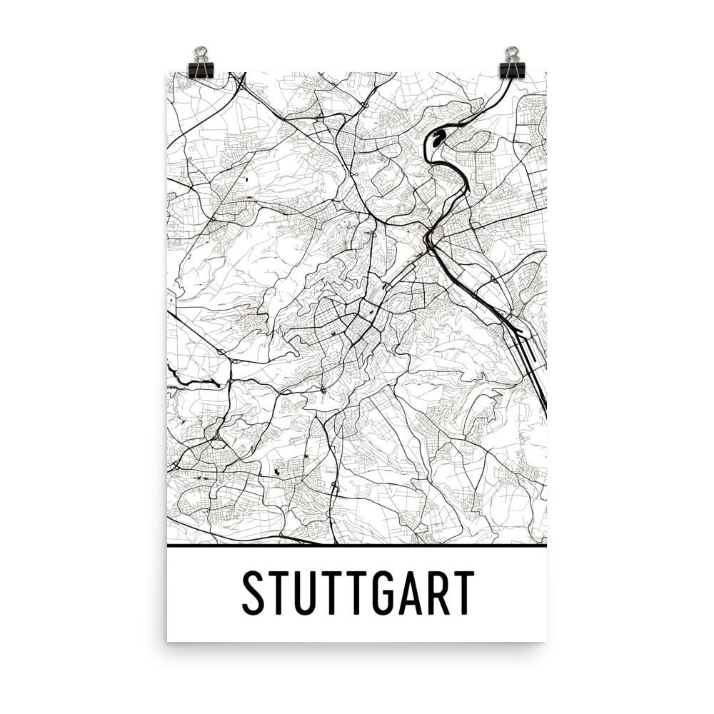 Stuttgart Germany Street Map Poster White